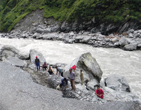 Road that connects Tawaghat village with Dharchula town is still being repaired