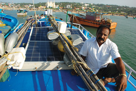 Little Flower, first fishing boat in Thoothoor, Tamil Nadu, to use solar power