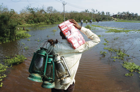 In most villages, people stored lanterns and food in cyclone shelters aheadof the storm