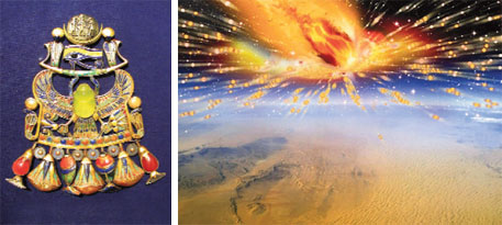 A specimen of the glass from the comet in Tutankhamun's brooch and (right) an artist's rendition of the comet exploding in Earth's atmosphere