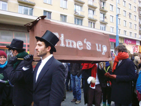 Activists protest inaction by world leaders at the climate talks in Warsaw, Poland