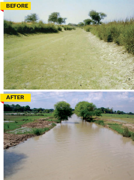 The project has brought water back in the Sasur Khaderi-2 rivulet which was earlier silted and encroached upon by small farmers