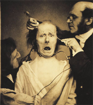 "Soon after photography was invented French neurologist Duchenne de Boulogne documented facial expressions triggered by electric stimulation. He was the first to study ""physiology of emotion"" and published his work in 1862 that was later used by Charles Darwin"
