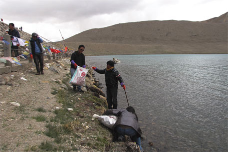 Cleanup drive at the sacred Gurudongmar Lake before bottled water was banned