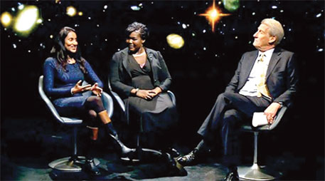 (Left to right) Aderin-Pocock and Peiris on Newsnight