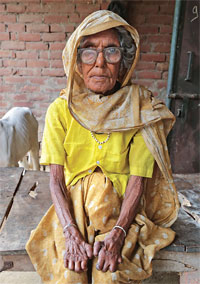 Iswari Devi, 82, lost her fingers after working on the agricultural fields. Tannery units discharge their waste in the fields