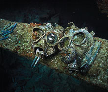 Gasmasks placed in the hold of the Japanese museum ship, Nippo Maru
