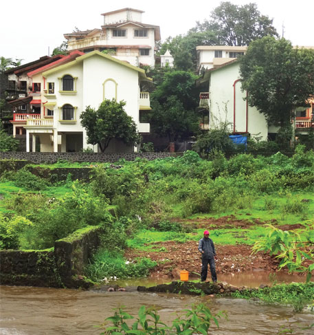 In Gold Valley area of Lonavala, constructions are encroaching upon the bed of a stream that joins the Indrayani river