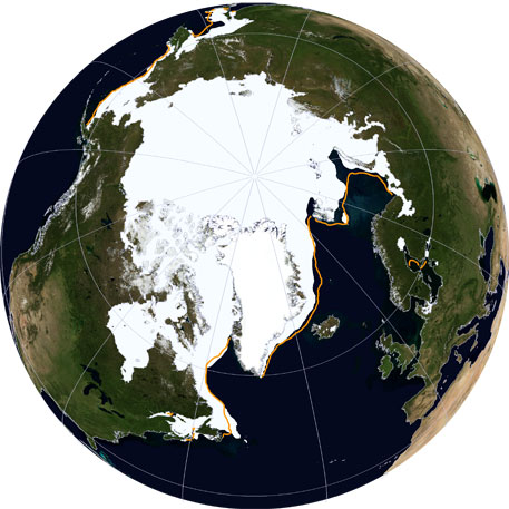 A NASA Blue Marble view of Arctic sea ice on March 21, 2014. —Credit:NSIDC
