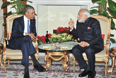 US President Barack Obama (left) and Indian Prime Minister Narendra Modi in New Delhi on January 25. India has offered to set up an insurance pool of Rs 1,500 crore to indemnify US companies from liability in case of a nuclear accident (Photo credit: PIB)