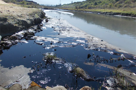 Effluent bearing oil and ash from JSEB, Patratu, flowing into the Nalkari river