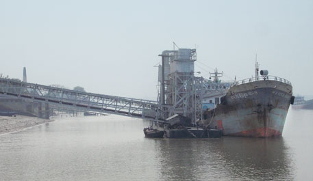 CESC, Budge Budge, supplies dry ash directly into barges to send it to cement plants in Bangladesh