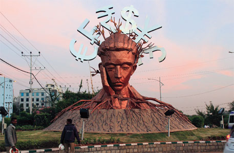 A sculpture unveiled during the biodiversity CoP in Hyderabad