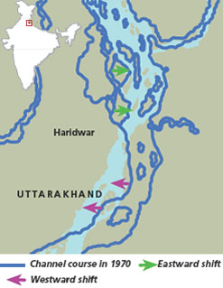 Ganga changes course in Haridwar