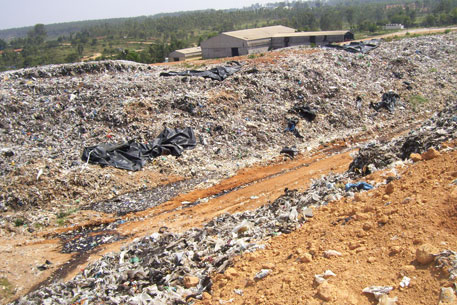 Waste dumped unscientifically at the Mavallipura landfill