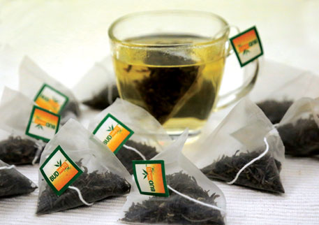 The pyramidshaped tea bag of Bud White Tea leaves room for the whole tea leaf to expand when dipped in hot water
