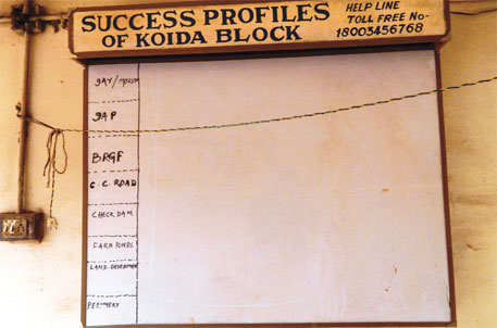The blank board at Koira block development office is an ironic reminder of the underdevelopment in the mining hot spot