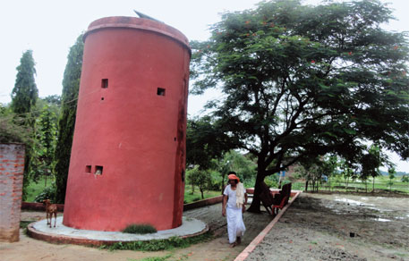 Harendra Singh of Muktipur has built a watchtower in his one-hectare farmhouse