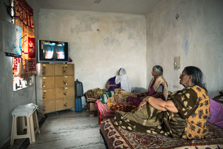 Triveni Charitable Old Age Home installs an LCD TV set to keep the residents entertained