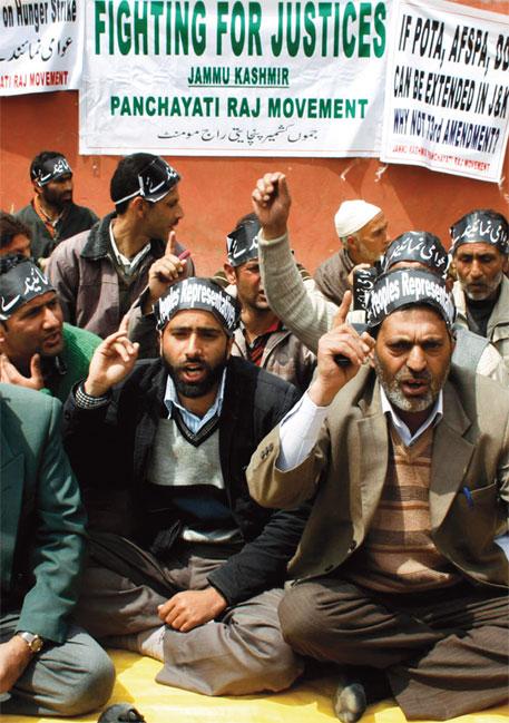 Panchayat leaders protest in Srinagar for adoption of the Central Panchayati Raj Act