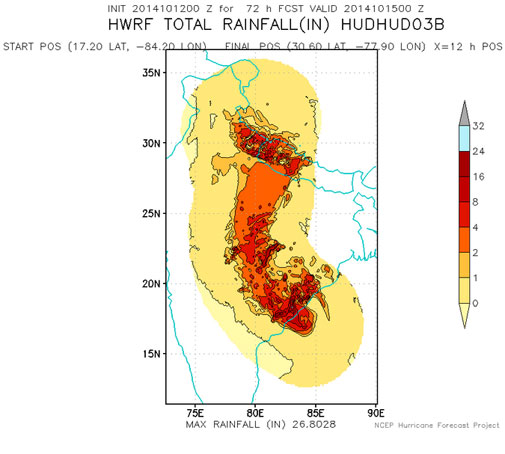 72hr projected rainfall due to Hudhud as per NCEP's HWRF model. Courtesy HWRF/NCEP.