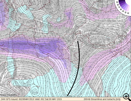 GFS model showing position of upper air trough on Friday, 8th May 2015. Black curve determines axis of the trough (Courtesy- COLA/IGES)