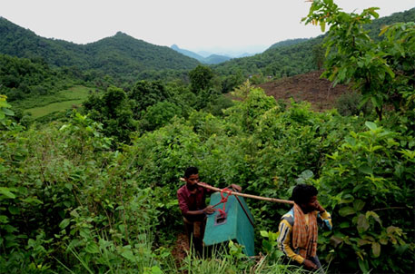 Villagers lugged speakers up the hills for the palli sabha meeting