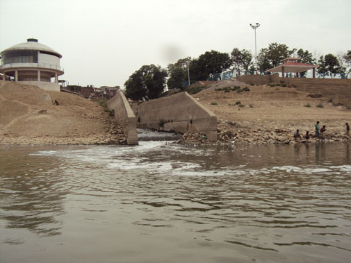 Nagwa drain's dirty water entering Ganga at Varanasi