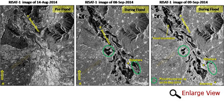 RISAT-1 images showing flood recession at Bijbehara near Anantnag