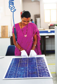 A solar module being made at Maharishi Solar Technology Limited in Noida