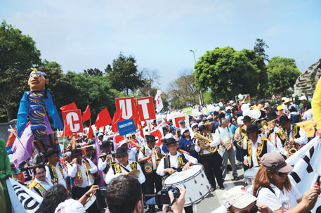 Indigenous people joined environmental activists, students and women's groups in a demonstration in the Peruvian capital