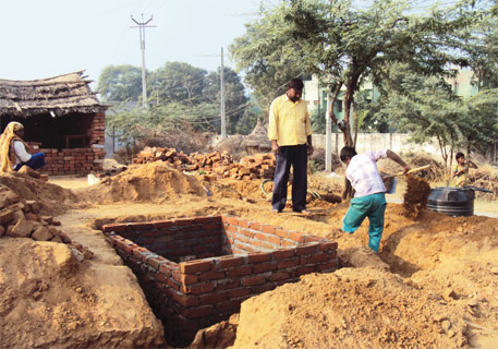 Some 50 families in Motuka-nangala panchayat in Haryana are building toilets