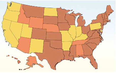 By 1975, many states in the US had lowered minimum legal drinking age from 21 (shown in yellow) to 19 (orange) or 18 (brown)