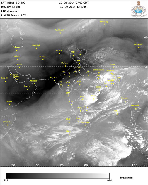 Water Vapour image. Courtesy- IMD
