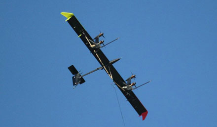 A wind energy kite prototype in the air (Photo courtesy: Makani Power)