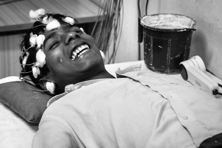 A survivor of AES at Baba Raghav Das (BRD) Medical College in Gorakhpur suffers from neuropsychiatric disability