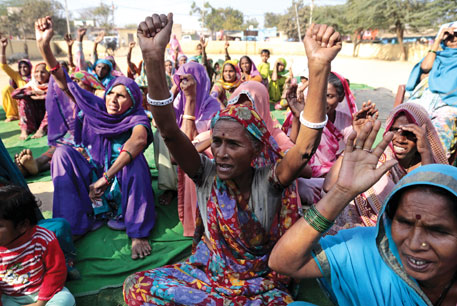 Od community members protest at Sanjay Colony in Delhi, demanding recognition of their forest rights over Bhatti area