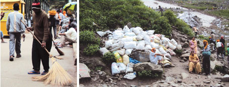 (Left) Around 70 sweepers clear litter at regular intervals; waste collected along the path that leads to Hemkund Sahib
