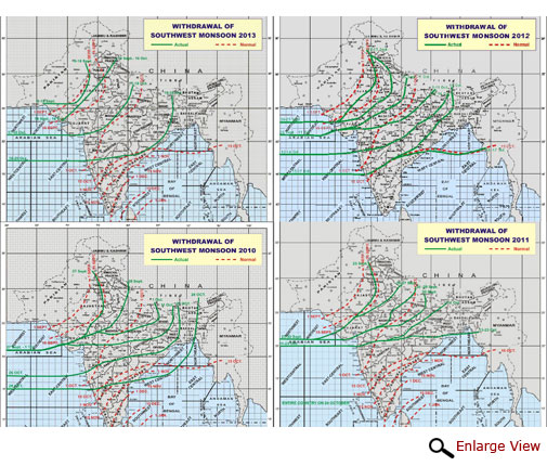 Withdrawal of the SW Monsoon from India in 2013, 2012, 2011, 2010 (clockwise). Green lines indicate the actual withdrawal as against the red dotted lines representing the normal withdrawal dates (Courtesy IMD)