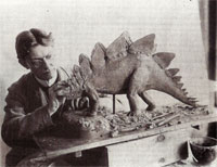 Charles R Knight working on Stegosaurus in 1899