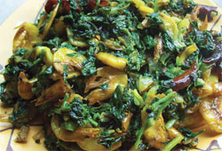 Khaparkhuti greens cooked with dry fish, Chhattisgarhi style