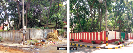 The group transformed a pavement in Sadashiv Nagar from a garbage dump to a clean walkway