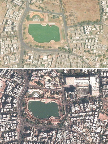 Google Earth image, April 2006 of the residential area in the lake's vicinity (top, construction boom began here in 2006). Google Earth image, same area, February 2012