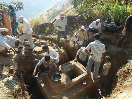 Construction of a spring box takes about 10 days. The panchayat and communities are responsible for its maintenance
