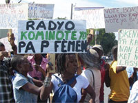 Haitians protest closing of community radio station CONATEL