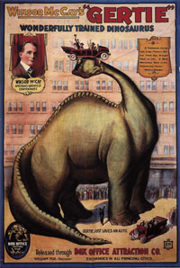 Dinosaurs became popular across the Atlantic after Gertie was screened in 1912. It was among the top 50 American cartoons in a mid-1990 survey in USA
