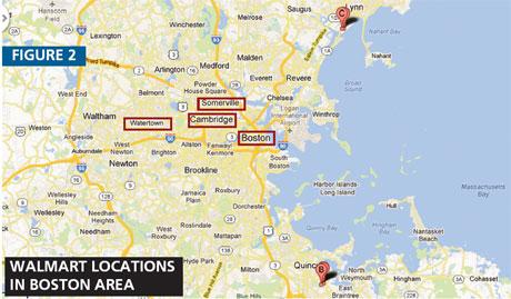 Walmart locations in Boston area