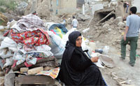Destroyed house in quake-stricken Azerbaijan in Iran