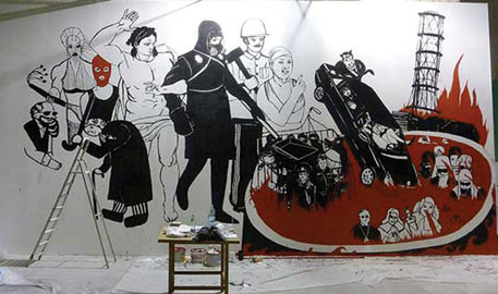 Volodymyr Kuznetsov's mural before it was destroyed