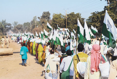 About 50,000 landless farmers of Madhya Pradesh began a march to Delhi on October 3, demanding land rights